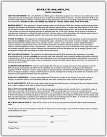 River City Rolloff's Service Agreement and other forms for download.
